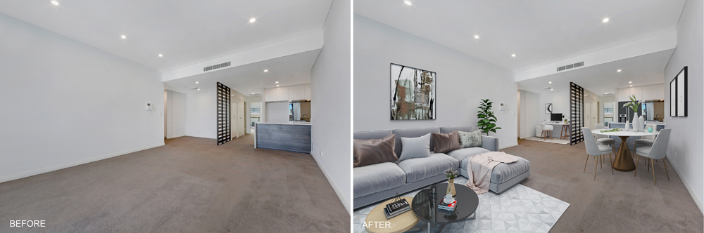 Living area with Virtual Staging